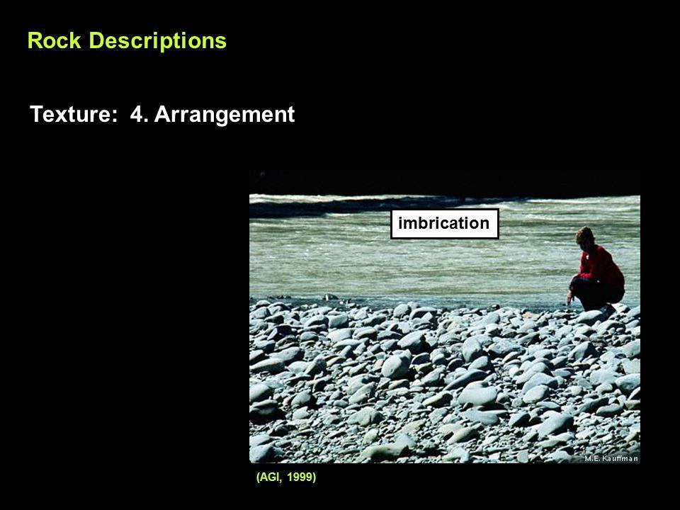 (AGI, 1999) Rock Descriptions Texture: 4. Arrangement imbrication
