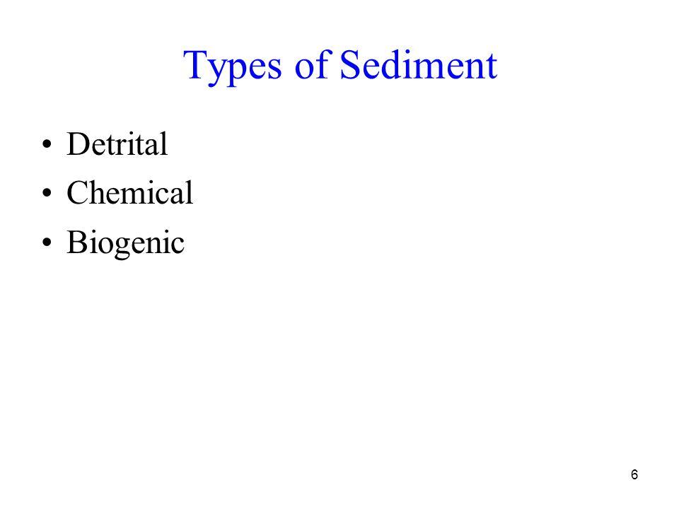 6 Types of Sediment Detrital Chemical Biogenic