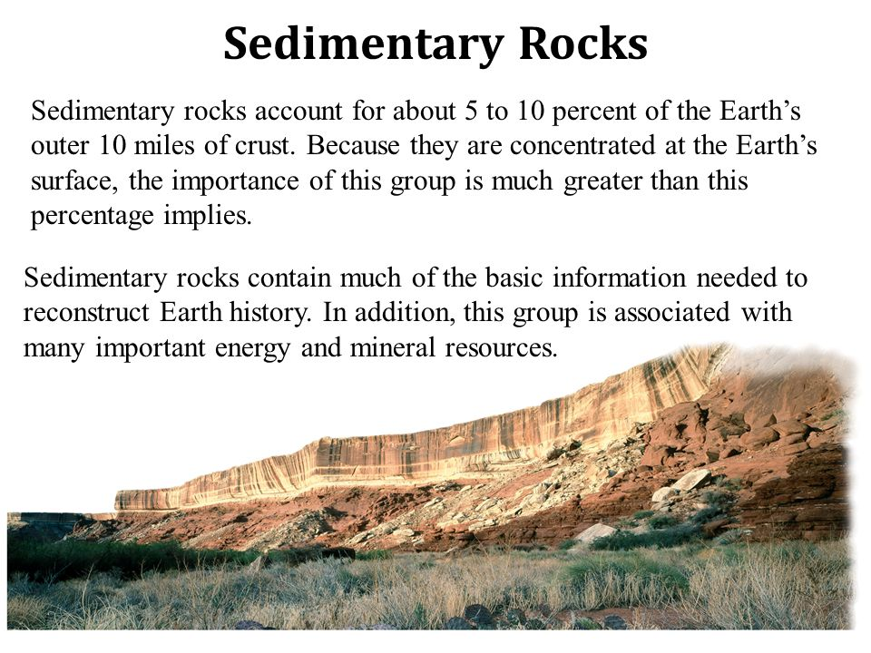 Sedimentary rocks account for about 5 to 10 percent of the Earth's outer 10 miles of crust.