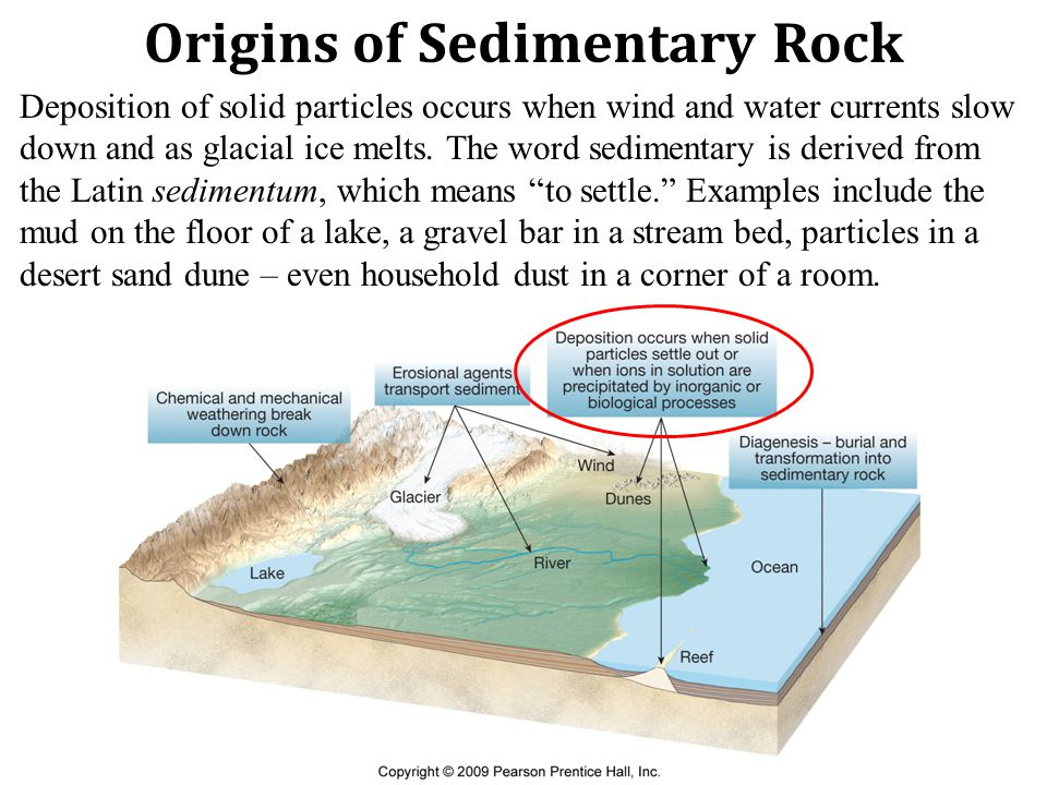 Origins of Sedimentary Rock Deposition of solid particles occurs when wind and water currents slow down and as glacial ice melts.