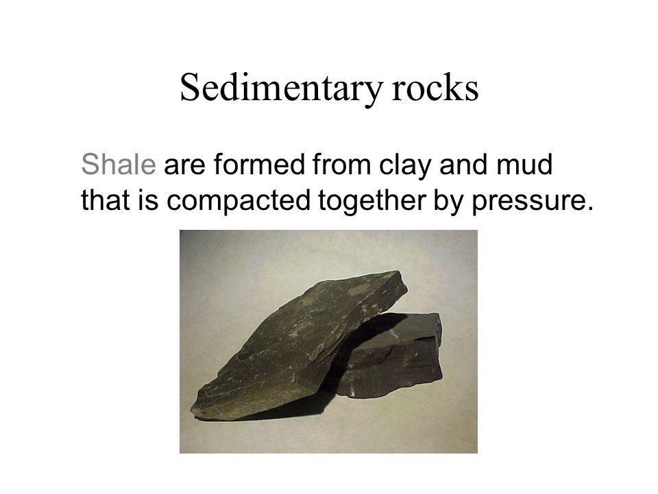 Sedimentary rocks Shale are formed from clay and mud that is compacted together by pressure.