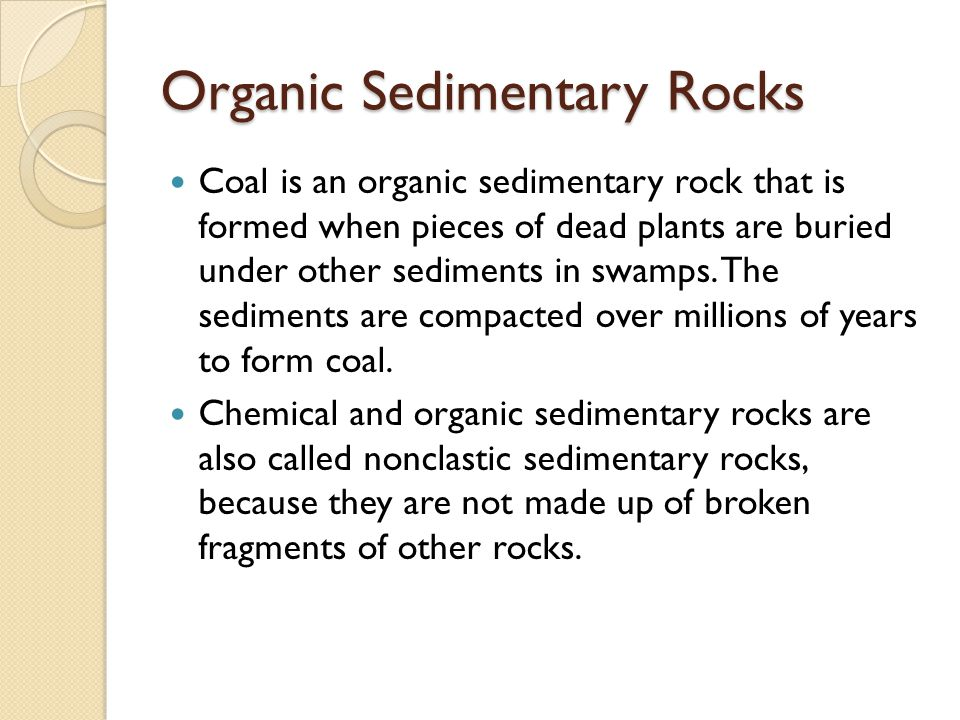 Organic Sedimentary Rocks Coal is an organic sedimentary rock that is formed when pieces of dead plants are buried under other sediments in swamps. Th