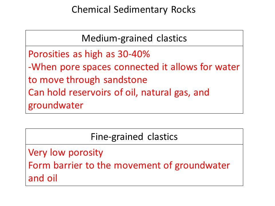 Medium-grained clastics Porosities as high as 30-40% -When pore spaces connected it allows for water to move through sandstone Can hold reservoirs of oil, natural gas, and groundwater Fine-grained clastics Very low porosity Form barrier to the movement of groundwater and oil Chemical Sedimentary Rocks