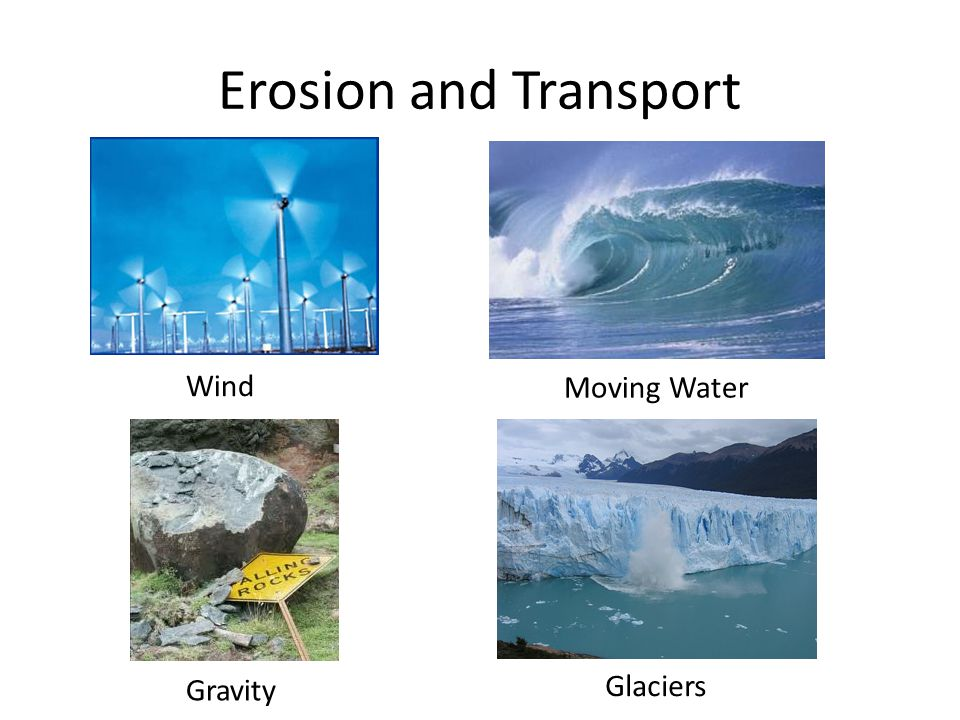 Erosion and Transport Wind Moving Water Gravity Glaciers