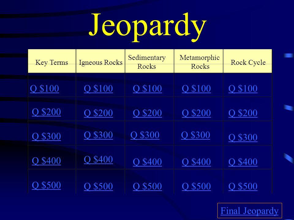 Jeopardy Key TermsIgneous Rocks Sedimentary Rocks Metamorphic Rocks Rock Cycle Q $100 Q $200 Q $300 Q $400 Q $500 Q $100 Q $200 Q $300 Q $400 Q $500 Final Jeopardy
