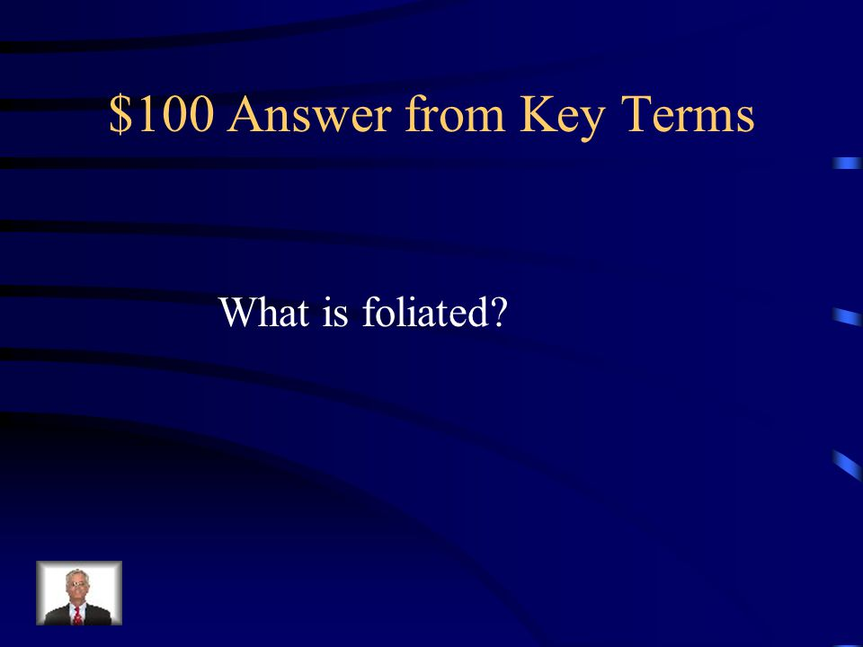 $100 Answer from Key Terms What is foliated?