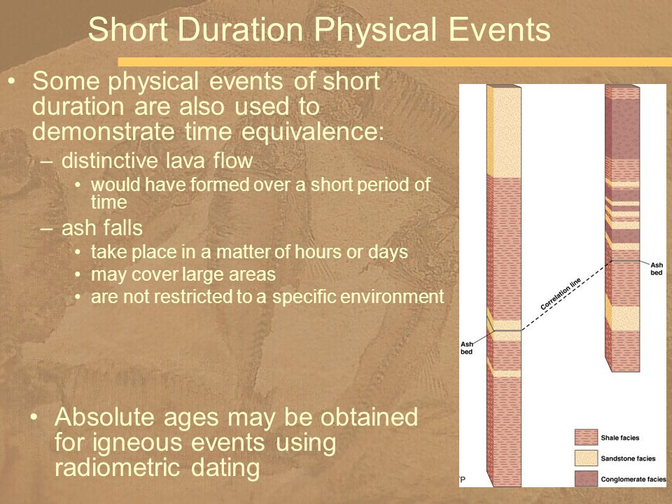 Some physical events of short duration are also used to demonstrate time equivalence: –distinctive lava flow would have formed over a short period of