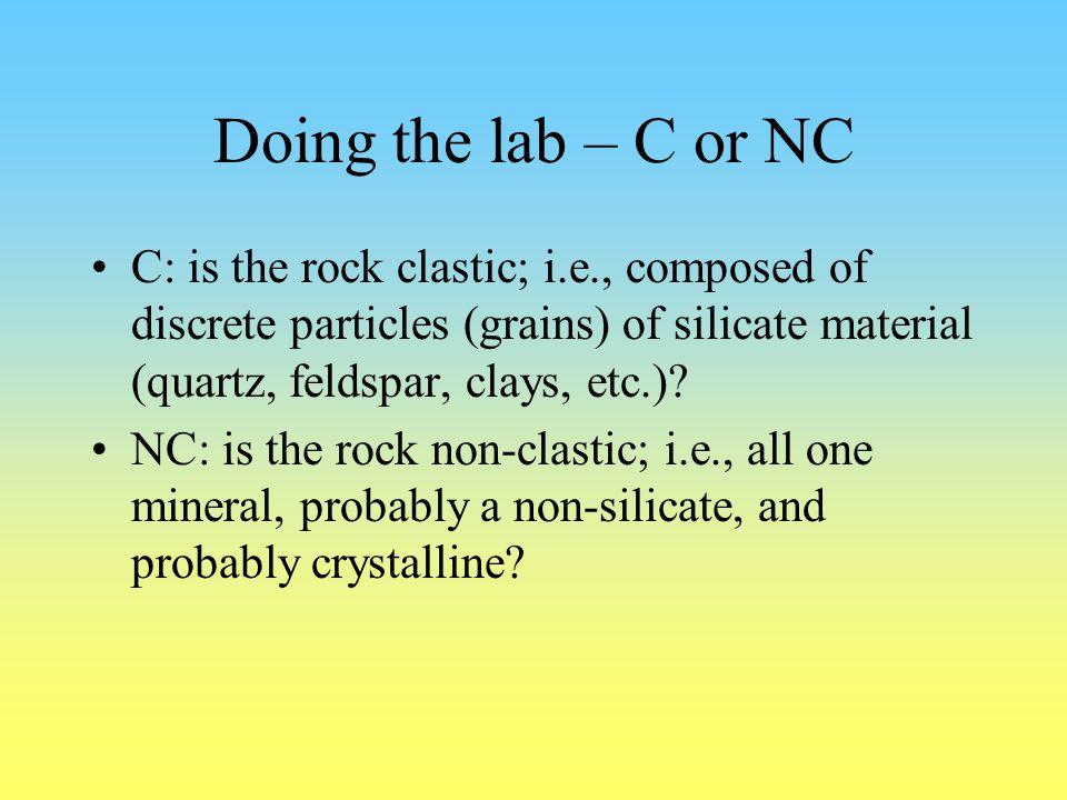 Doing the lab – C or NC C: is the rock clastic; i.e., composed of discrete particles (grains) of silicate material (quartz, feldspar, clays, etc.)? NC