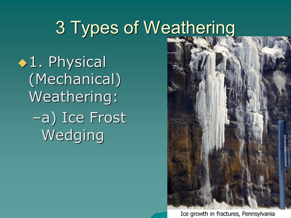 3 Types of Weathering  1. Physical (Mechanical) Weathering: –a) Ice Frost Wedging