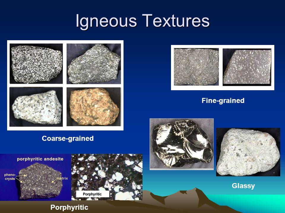 Igneous Textures Coarse-grained Fine-grained Glassy Porphyritic