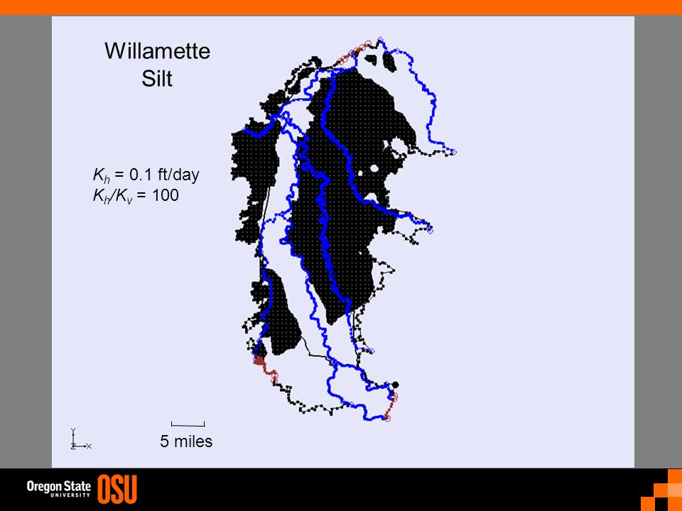 Willamette Silt 5 miles K h = 0.1 ft/day K h /K v = 100