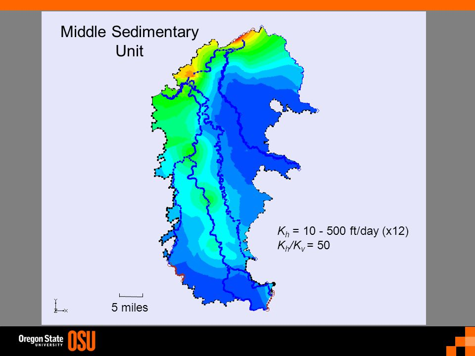 K h = 10 - 500 ft/day (x12) K h /K v = 50 Middle Sedimentary Unit 5 miles
