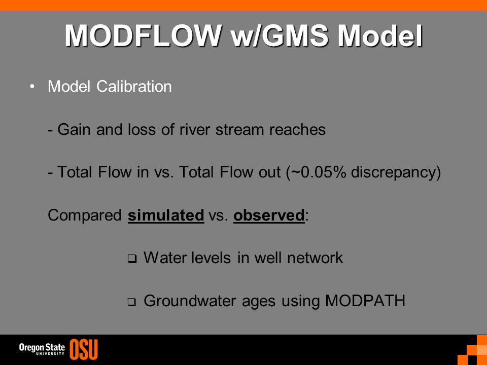 MODFLOW w/GMS Model Model Calibration - Gain and loss of river stream reaches - Total Flow in vs.
