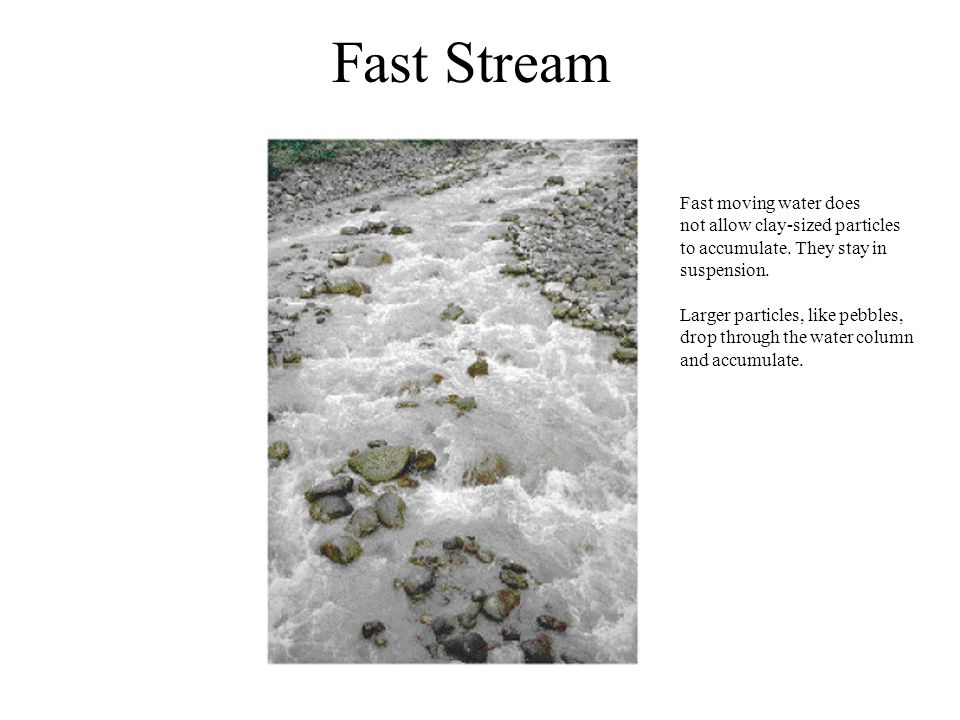 Fast Stream Fast moving water does not allow clay-sized particles to accumulate. They stay in suspension. Larger particles, like pebbles, drop through