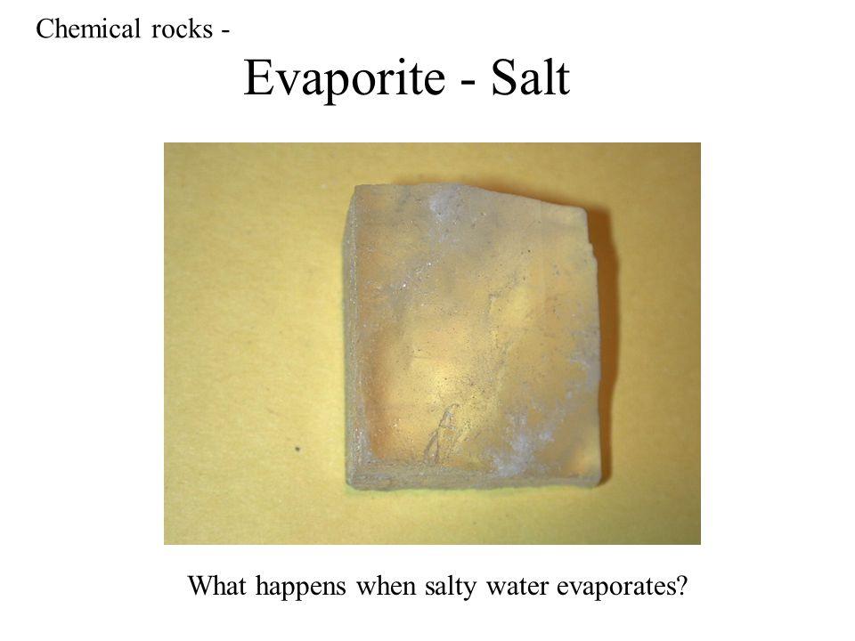 Evaporite - Salt Chemical rocks - What happens when salty water evaporates?