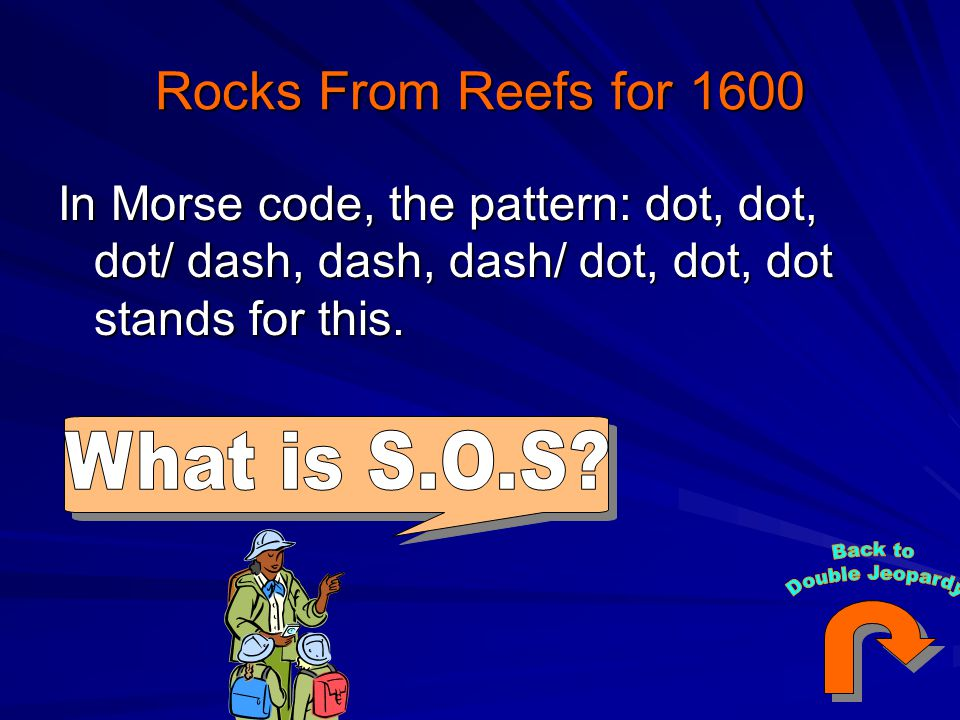 Rocks From Reefs for 1600 In Morse code, the pattern: dot, dot, dot/ dash, dash, dash/ dot, dot, dot stands for this.