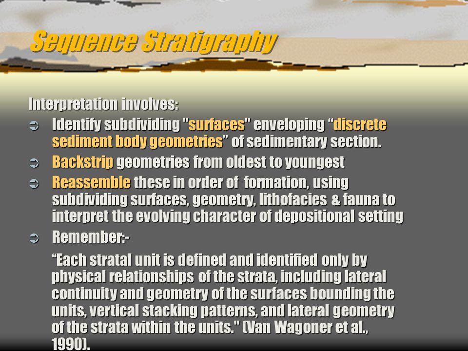 Sequence Stratigraphy Interpretation involves:  Identify subdividing