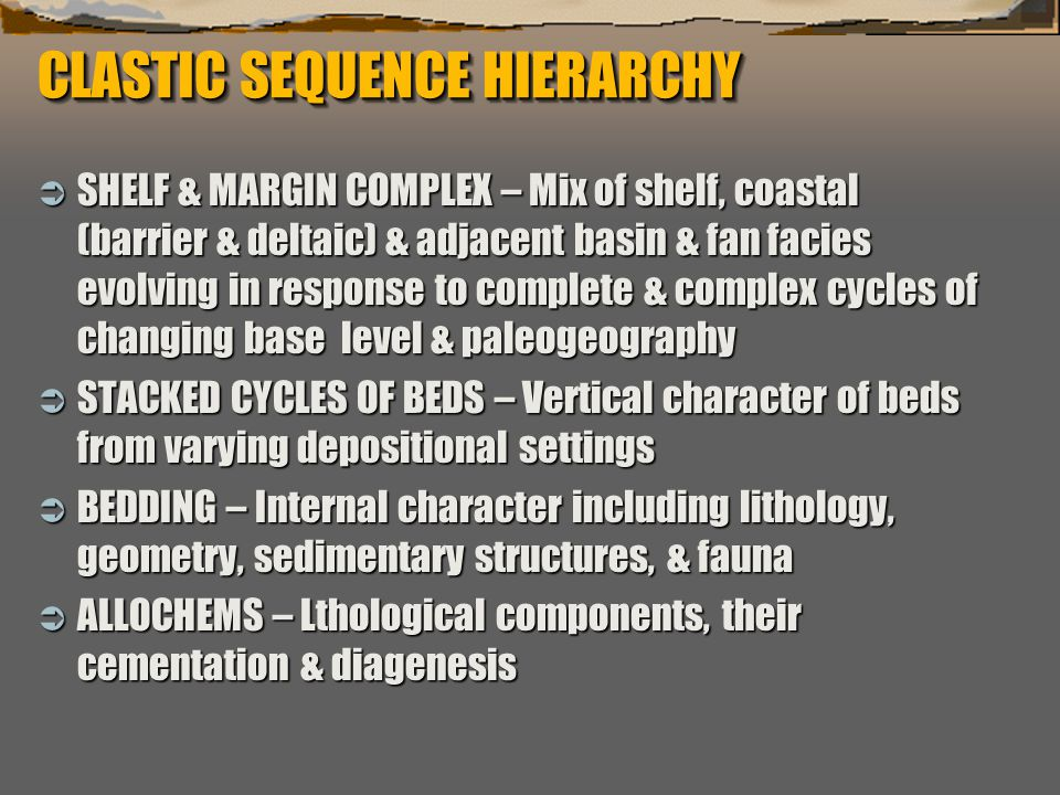 """""""Sequence Stratigraphy – Basics"""" C. G. St. C. Kendall CLASTIC SEQUENCE HIERARCHY  SHELF & MARGIN COMPLEX – Mix of shelf, coastal (barrier & deltaic)"""