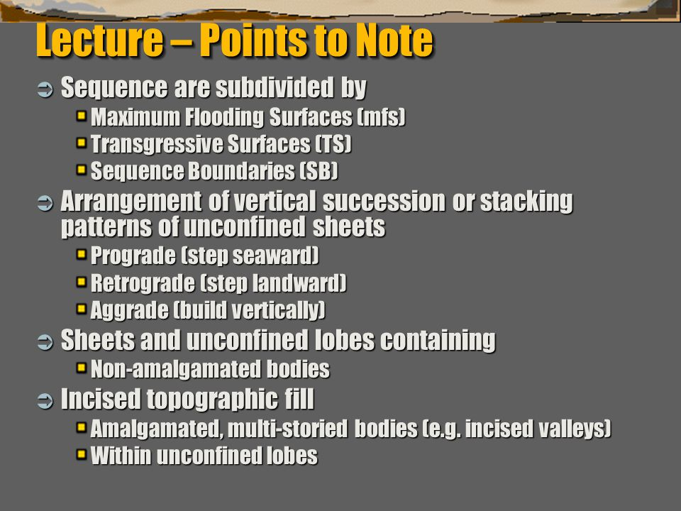 """""""Sequence Stratigraphy – Basics"""" C. G. St. C. Kendall Lecture – Points to Note  Sequence are subdivided by Maximum Flooding Surfaces (mfs) Transgress"""