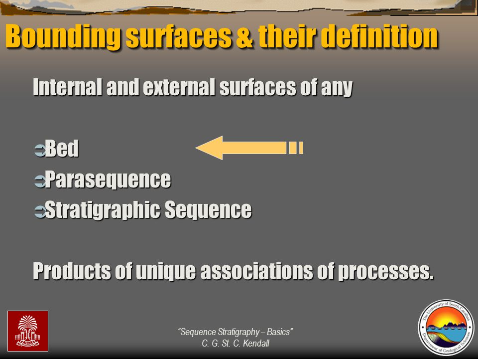 """""""Sequence Stratigraphy – Basics"""" C. G. St. C. Kendall Bounding surfaces & their definition Internal and external surfaces of any  Bed  Parasequence"""