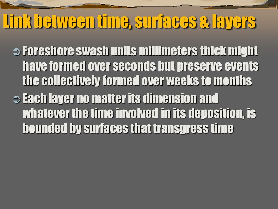 """""""Sequence Stratigraphy – Basics"""" C. G. St. C. Kendall Link between time, surfaces & layers  Foreshore swash units millimeters thick might have formed"""