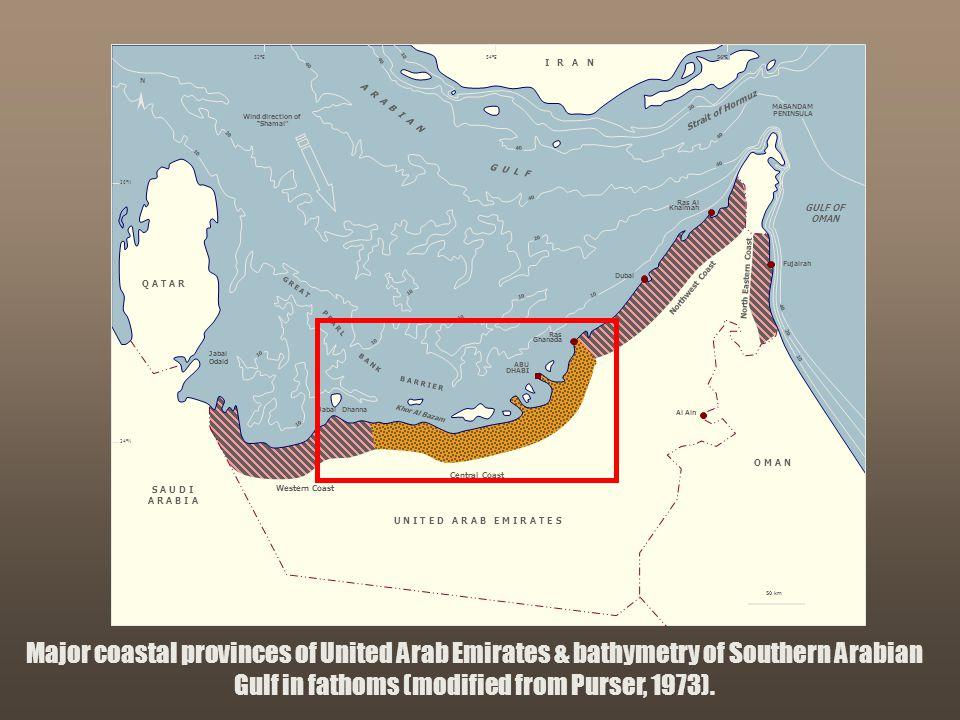 """Sequence Stratigraphy – Basics"" C. G. St. C. Kendall Major coastal provinces of United Arab Emirates & bathymetry of Southern Arabian Gulf in fathoms"