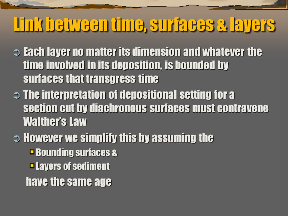 """""""Sequence Stratigraphy – Basics"""" C. G. St. C. Kendall Link between time, surfaces & layers  Each layer no matter its dimension and whatever the time"""