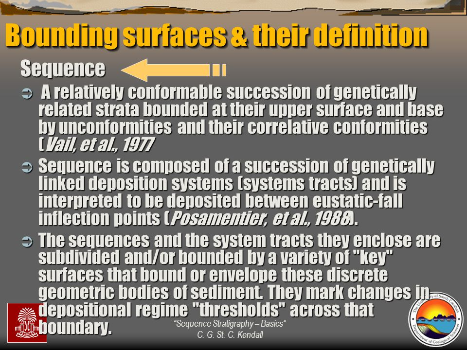 """""""Sequence Stratigraphy – Basics"""" C. G. St. C. Kendall Bounding surfaces & their definition Sequence  A relatively conformable succession of genetical"""