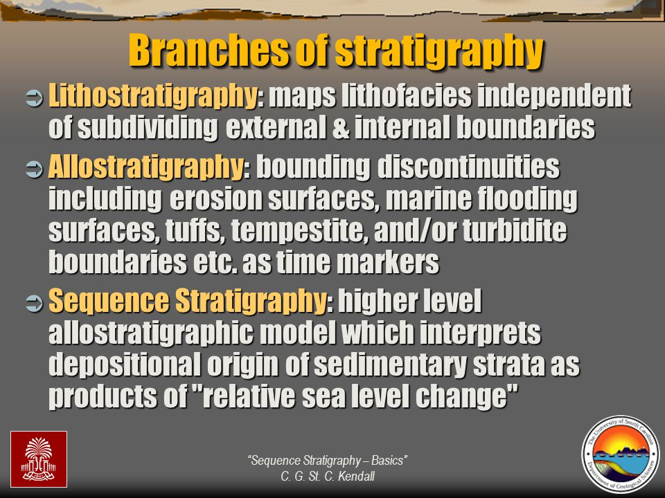 """""""Sequence Stratigraphy – Basics"""" C. G. St. C. Kendall Branches of stratigraphy  Lithostratigraphy: maps lithofacies independent of subdividing extern"""
