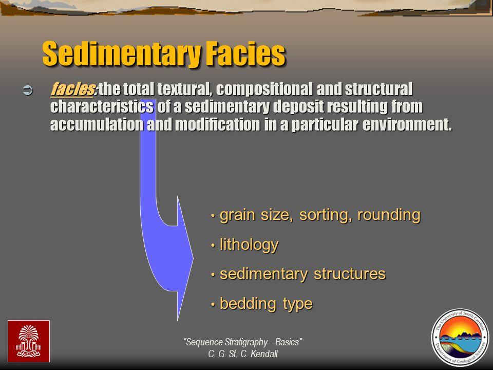 """Sequence Stratigraphy – Basics"" C. G. St. C. Kendall grain size, sorting, rounding grain size, sorting, rounding lithology lithology sedimentary stru"