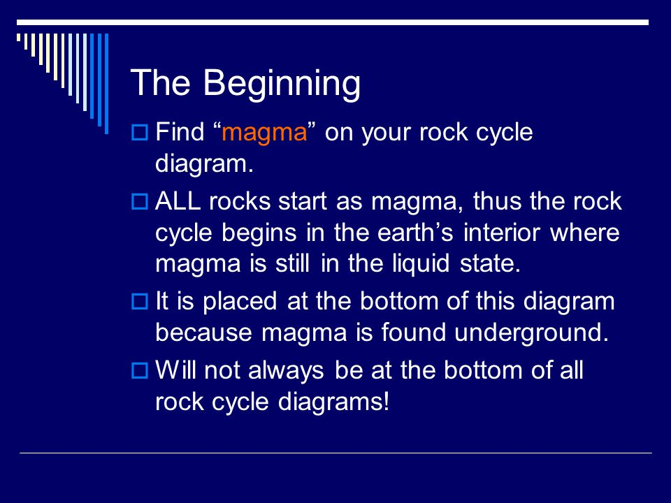 The Beginning  Find magma on your rock cycle diagram.