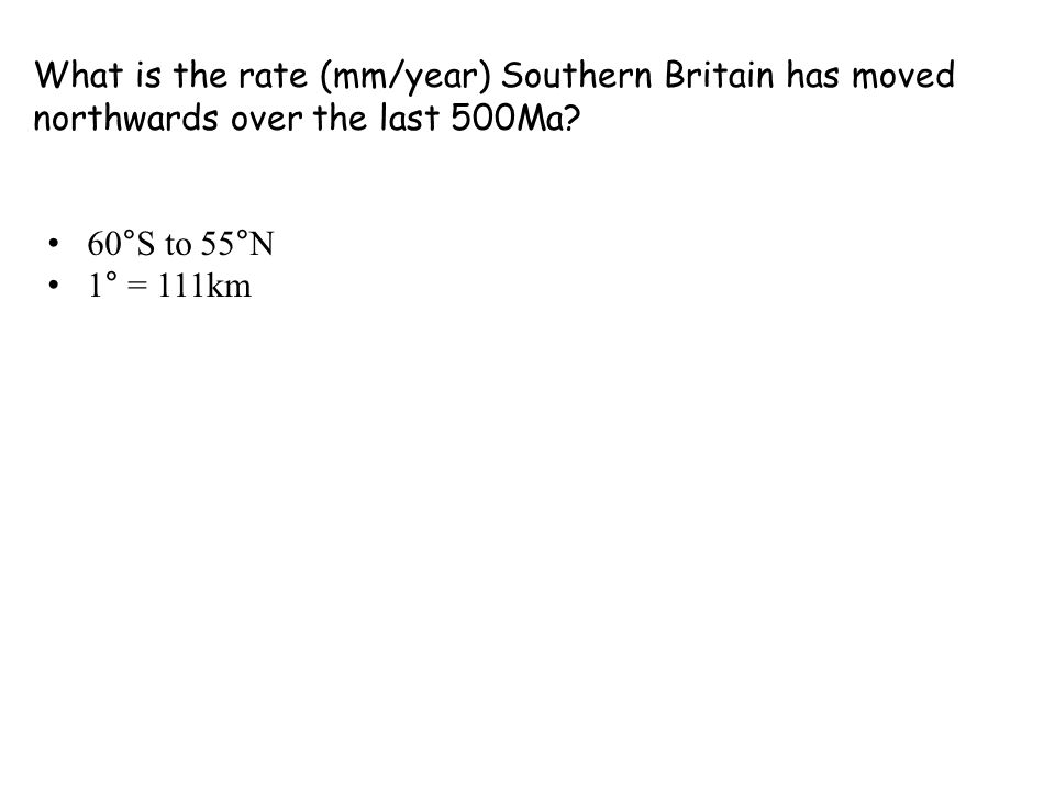 What is the rate (mm/year) Southern Britain has moved northwards over the last 500Ma.