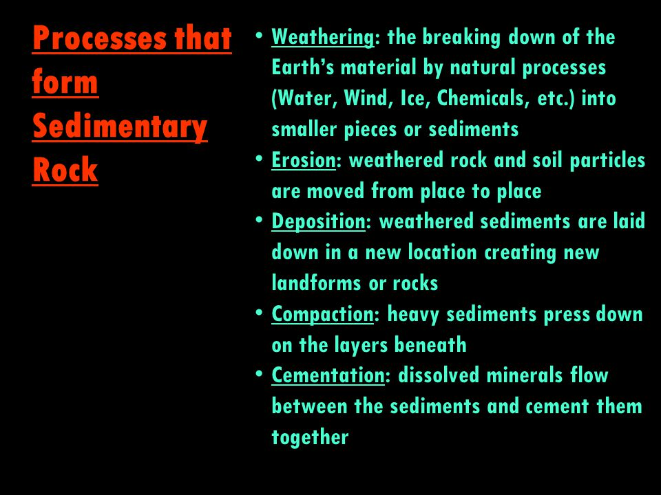 Melting: caused by heat and pressure around the rock to form magma Solidification: magma cools and hardens Recrystallization: while cooling, rock can develop crystals, depending on conditions Processes that form Igneous & Metamorphic Rock