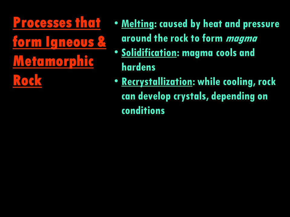Igneous Metamorphic Sedimentary The Rock Cycle squished kinda melted