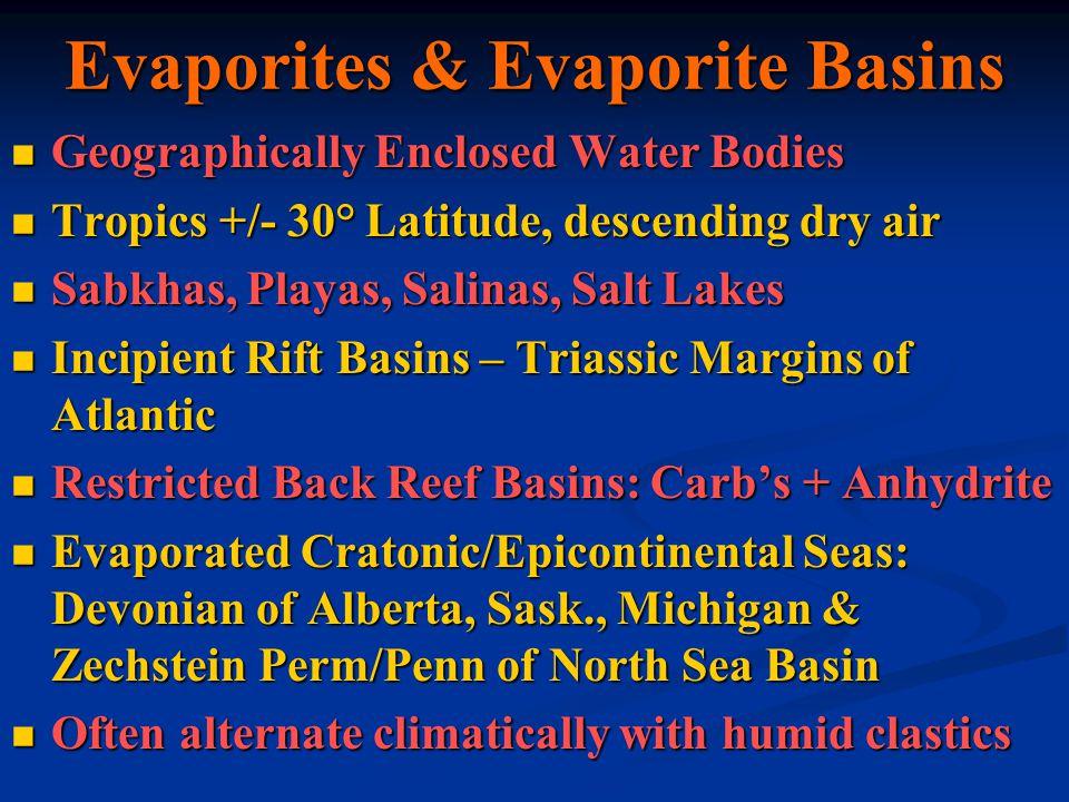 Evaporites & Evaporite Basins Geographically Enclosed Water Bodies Geographically Enclosed Water Bodies Tropics +/- 30° Latitude, descending dry air T