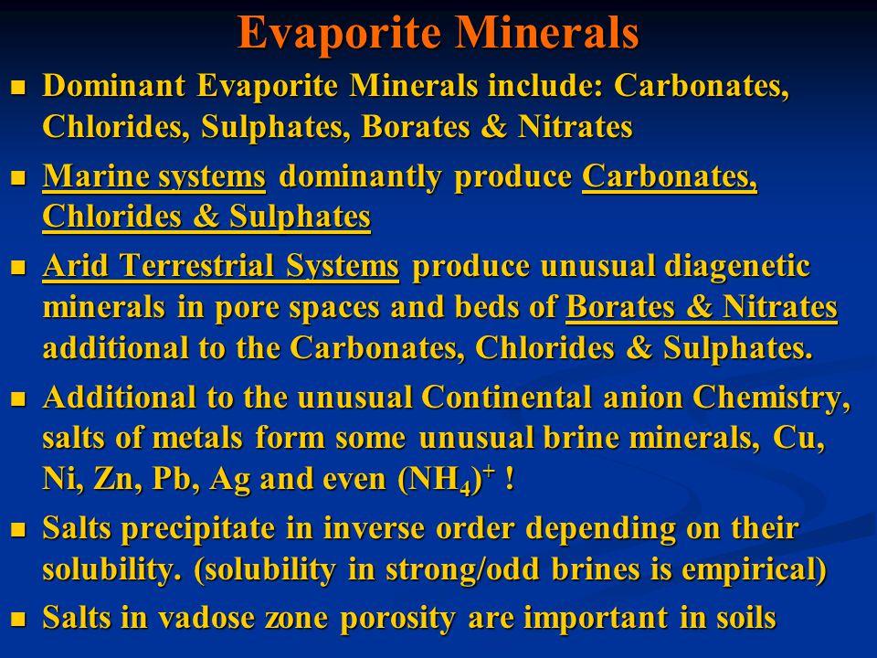 Evaporite Minerals Dominant Evaporite Minerals include: Carbonates, Chlorides, Sulphates, Borates & Nitrates Dominant Evaporite Minerals include: Carb