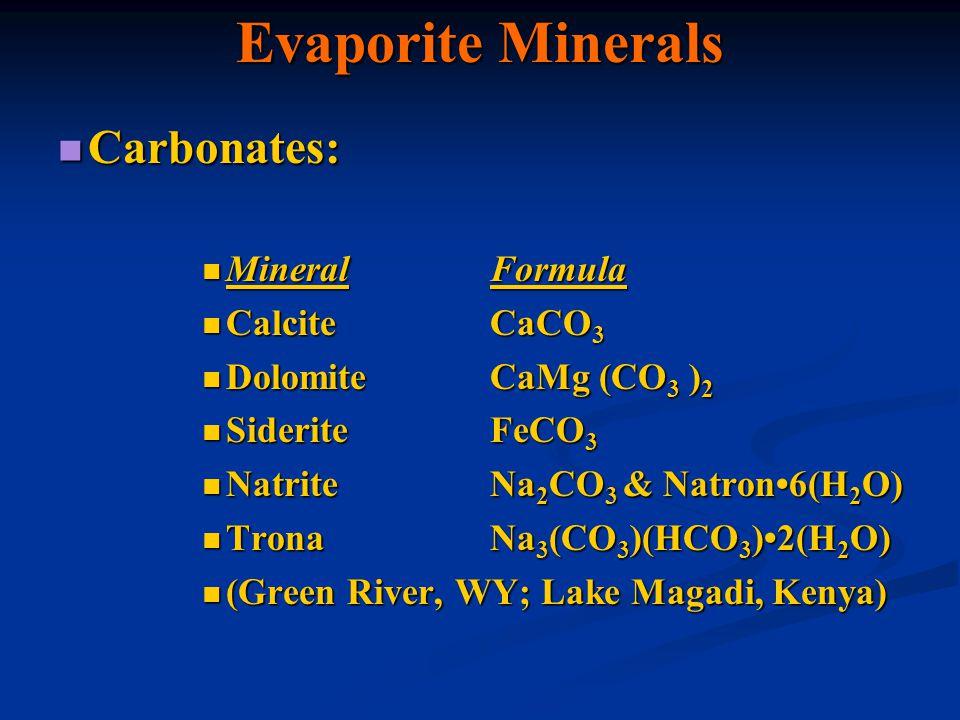 Evaporite Minerals Carbonates: Carbonates: MineralFormula MineralFormula CalciteCaCO 3 CalciteCaCO 3 DolomiteCaMg (CO 3 ) 2 DolomiteCaMg (CO 3 ) 2 Sid