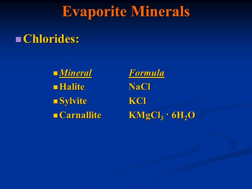 Evaporite Minerals Chlorides: Chlorides: MineralFormula MineralFormula HaliteNaCl HaliteNaCl SylviteKCl SylviteKCl CarnalliteKMgCl 3 · 6H 2 O Carnalli