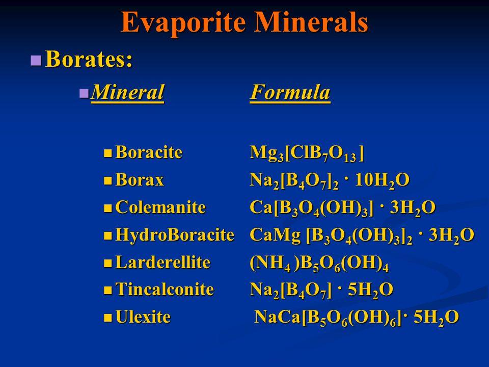 Evaporite Minerals Borates: Borates: MineralFormula MineralFormula BoraciteMg 3 [ClB 7 O 13 ] BoraciteMg 3 [ClB 7 O 13 ] BoraxNa 2 [B 4 O 7 ] 2 · 10H
