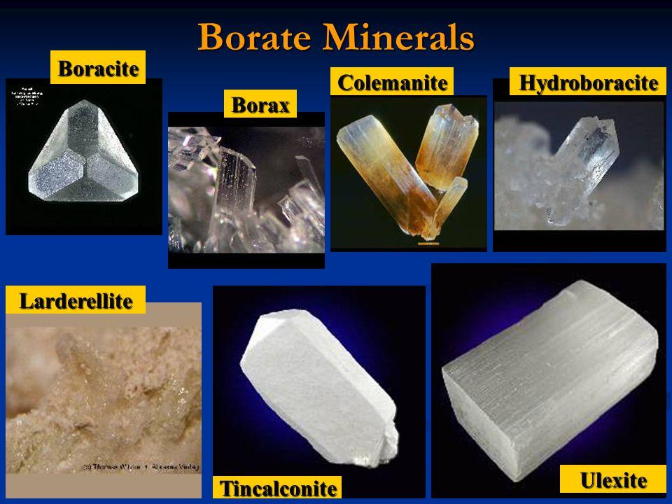 Borate Minerals Boracite Borax ColemaniteHydroboracite Larderellite Tincalconite Ulexite