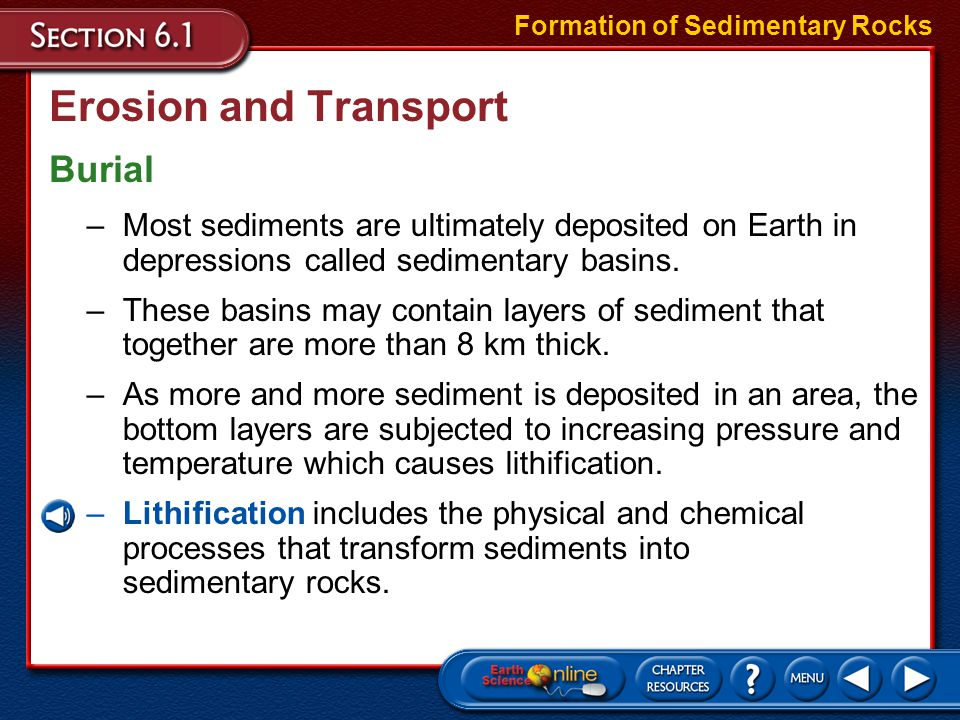 Clastic Sedimentary Rocks Fine-Grained Clastics Types of Sedimentary Rocks –Sedimentary rocks consisting of silt and mud are called siltstone and mudstone.