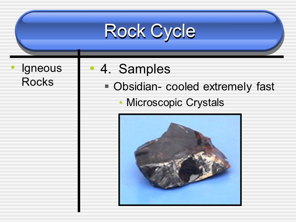 Rock Cycle Igneous Rocks 4. Samples  Obsidian- cooled extremely fast Microscopic Crystals