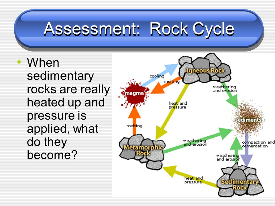 Assessment: Rock Cycle When sedimentary rocks are really heated up and pressure is applied, what do they become?