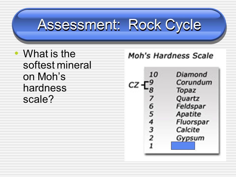 Assessment: Rock Cycle What is the softest mineral on Moh's hardness scale