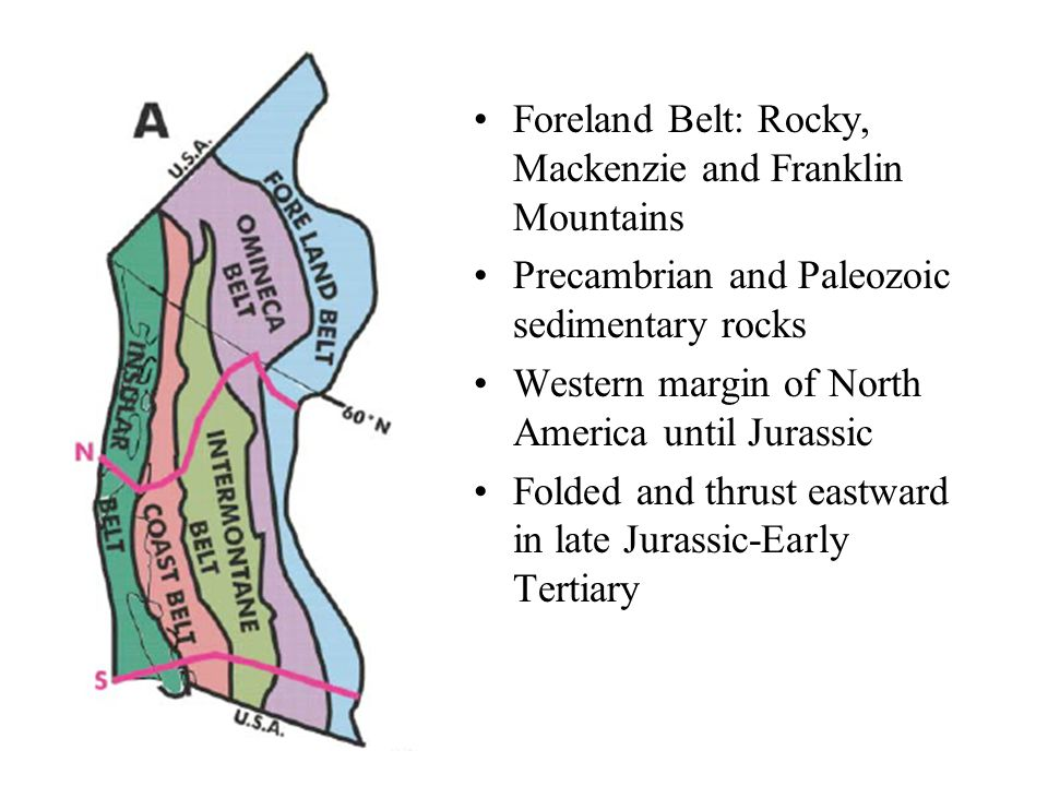 Foreland Belt: Rocky, Mackenzie and Franklin Mountains Precambrian and Paleozoic sedimentary rocks Western margin of North America until Jurassic Folded and thrust eastward in late Jurassic-Early Tertiary