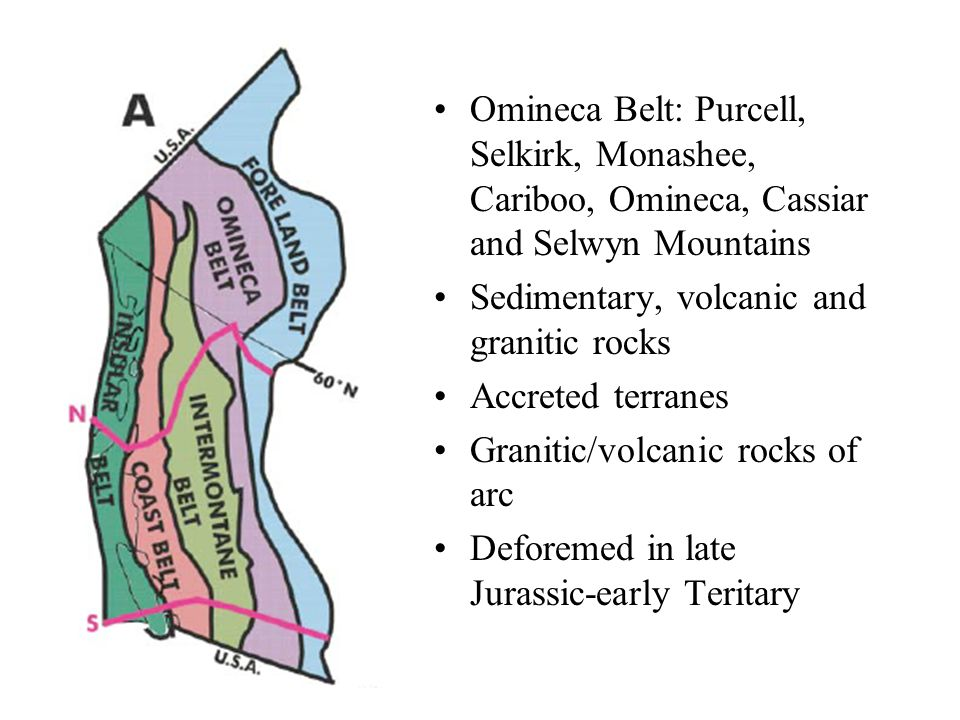 Omineca Belt: Purcell, Selkirk, Monashee, Cariboo, Omineca, Cassiar and Selwyn Mountains Sedimentary, volcanic and granitic rocks Accreted terranes Granitic/volcanic rocks of arc Deforemed in late Jurassic-early Teritary