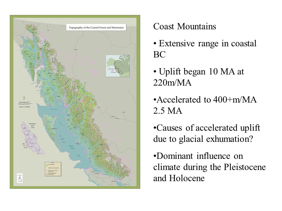 Coast Mountains Extensive range in coastal BC Uplift began 10 MA at 220m/MA Accelerated to 400+m/MA 2.5 MA Causes of accelerated uplift due to glacial exhumation.