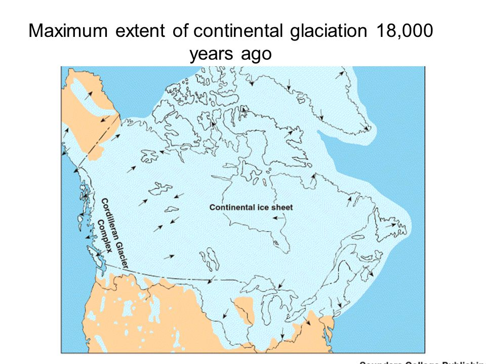 Maximum extent of continental glaciation 18,000 years ago