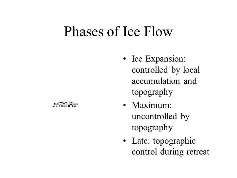 Phases of Ice Flow Ice Expansion: controlled by local accumulation and topography Maximum: uncontrolled by topography Late: topographic control during retreat