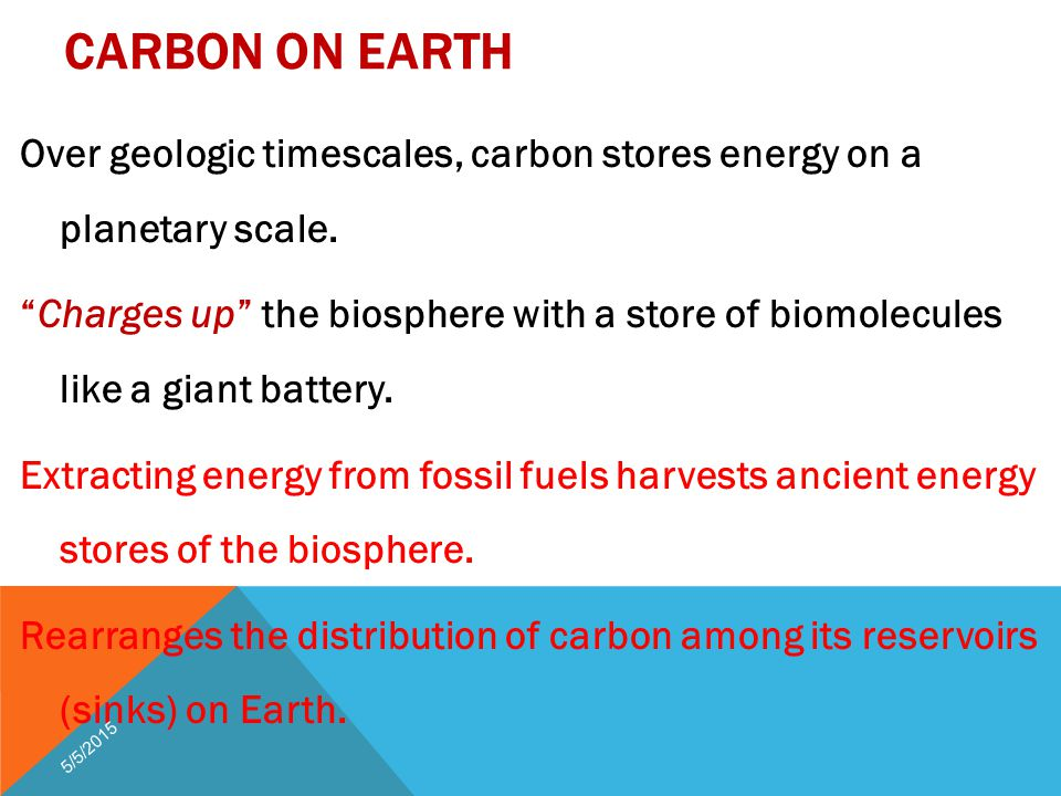 CARBON ON EARTH Over geologic timescales, carbon stores energy on a planetary scale.